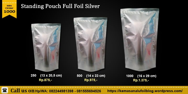 harga standing pouch full foil silver - harga standing pouch full foil silver