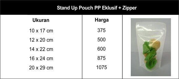 stand up pouch pp eklusif zipper - stand up pouch pp eklusif & zipper