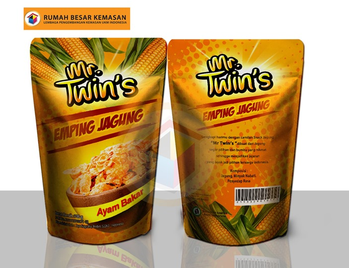 Mr Twins Emping Jagung Ayam Bakar - Kemasan Standing Pouch - Emping Jagung