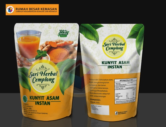 Sari Herbal Cemplong Kunyit Asam - Kemasan Standing Pouch - Sari Herbal Cemplong