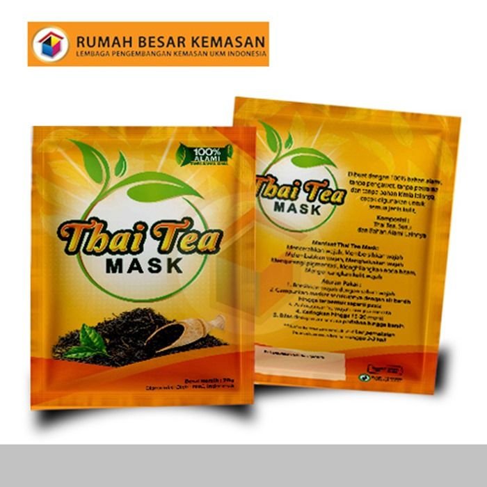 Thai Tea Mask - Kemasan Three Side Seal - Masker